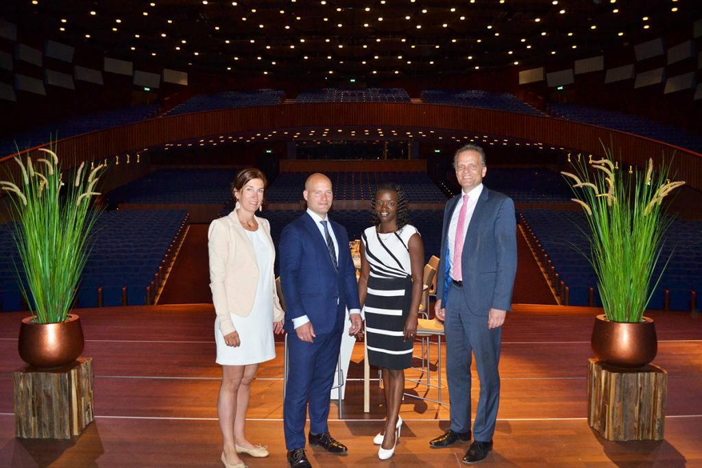 Kirsten Vosmer (Commercial Manager, World Forum The Hague), Dave Hulsman (Managing Director, GNO), Carolyn Hoek (Creative Director, GNO), Michiel Middendorf (General Manager, World Forum The Hague)