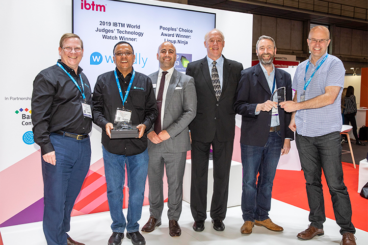 IBTM World Tech Watch Award winners Wordly and Lineup Ninja on stage