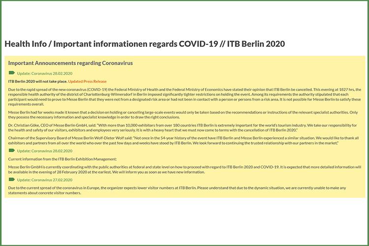 ITB 2020 geannuleerd berichtgeving