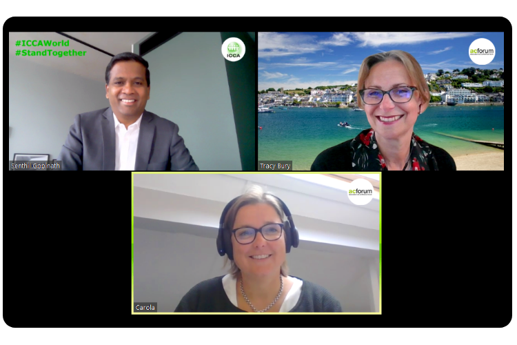 Senthil Gopinath CEO ICCA, Tracy Bury President AC Forum (WCPT) and Carola van der Hoeff President-Elect AC Forum (FIP) signing the agreement during a Zoom meeting.