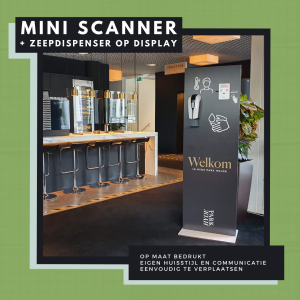 Display met mini koortsscanner en zeepdispenser