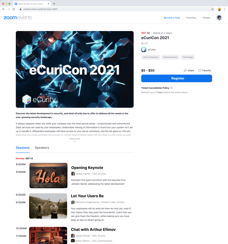 Zoom Events conference program page